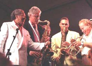President ClintonPlaysSaxatNewportJazzFest1993